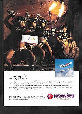 Hawaiian Airlines 1986 Legends Hula Part Of Hawaiian Life Dc-9-30 Ad