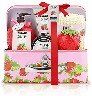 Pure! Spa in a Basket. Deluxe Gift Set for Women Fresh Strawberry