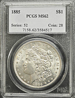1885 United States Morgan Dollar PCGS graded MS-62