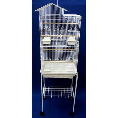 YML 6894-4814WHT Villa Top Small Bird Cage with Stand in White