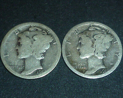 * * 1919-D & 1919-S MERCURY DIMES: PAIR OF TOUGH EARLY DATES at a BARGAIN PRICE!