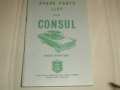 Ford Consul Mk2 spare parts list 1959  owners edition..looks unused.