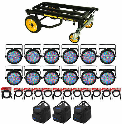 (12) CHAUVET SLIMPAR64 Slim Par Lights+(3) Bags+(12) DMX Cables+Transport Cart