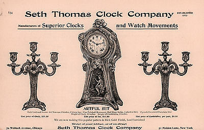 Early 1900 's Ad Seth Thomas Clock Artful Set Candelabras Nouveau