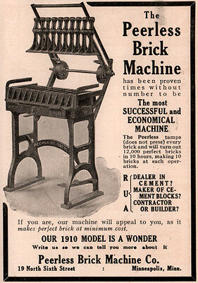 1910 A Ad Peerless Brick Machine Co Tamps Brick