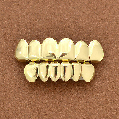 1 Set Gold Plated Hip Hop Teeth Grillz Top & Bottom  Grill Teeth Grills Fashion
