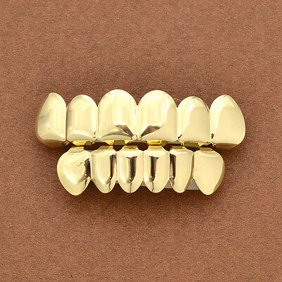 1 Set Gold Plated Hip Hop Teeth Top & Bottom Grill Teeth Grills Fashion Jewelry