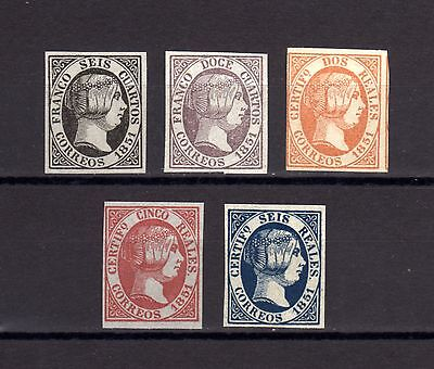 6076-SPAIN-ESPAÑA-INCOMPLET SET ISABEL II.1851.Edf.6-11.falsos.Reproduction.COPY