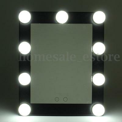LED Bulb Vanity Lighted Hollywood Makeup Mirror with Dimmer Stage Beauty Black