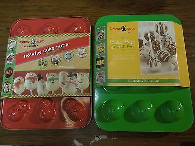 Lot of 2 Nordic Ware Cake Pops: Round & Holiday Snowmen, NEW