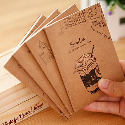 2Pcs Portable Mini Retro Kraft Paper Notepad Memo Blank Diary Notebook Journal