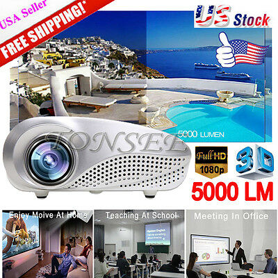 5000 LM Pro Full HD 1080P LED 3D TV Home Multimedia Theater Projector HDMI USA