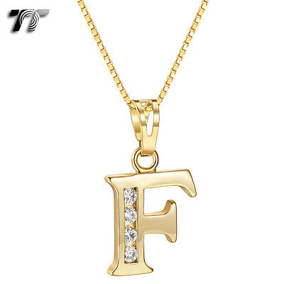 TT 18K Gold GP Letter F Pendant Necklace With Box Chain (NP327F) NEW