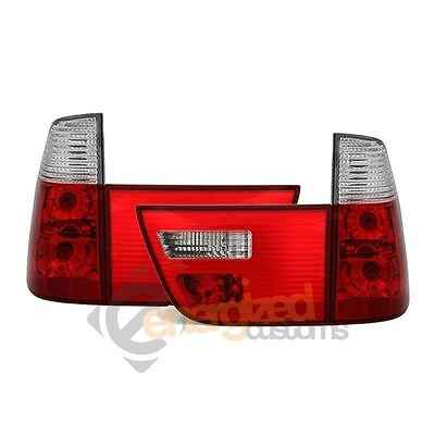 Bmw X5 E53 1999-2003 Red & Clear Jewel Style Rear Tail Lights Lamps Pair
