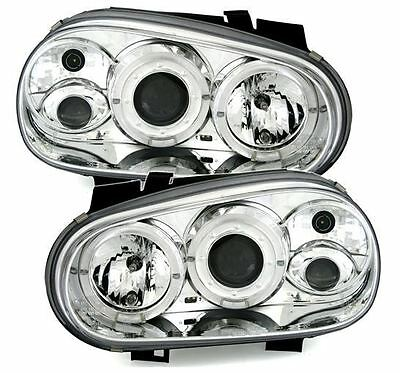Vw Golf Mk4 1998-2004 Chrome Angel Eye Halo Projector Headlights Headlamps Pair