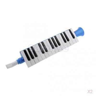 2x Plastic Blue 27 Key Piano Melodica Students Children Educational Instruments