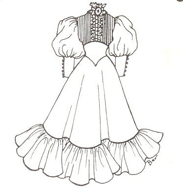 """Period Dress outfit French German Victorian PATTERN for 17""""18"""" Doll clothes 575*"""
