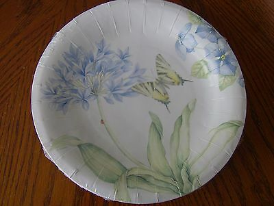Lenox BUTTERFLY MEADOW BLUE Coated Paper Luncheon/Dessert Plates Set of 16 New