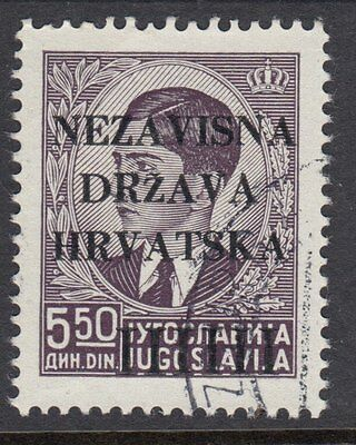 CROATIA : 1941 Opts on Yugoslavia 5d50 SG 8 fine used