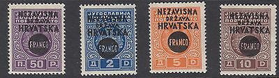 CROATIA : 1941 Opts on Yugoslavia Postage Dues set SG 28-31 MNH/mint