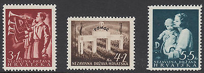 CROATIA : 1942 National Relief Fund set SG 64-6 mint