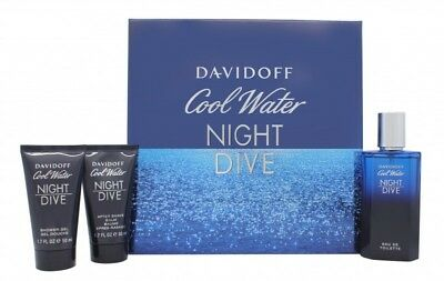 Davidoff Cool Water Night Dive Gift Set 75Ml Edt + 50Ml S/g + 50Ml A/s Balm. New