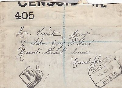 Spain 1916 Civil Censored Registered Cover To Wales Stamp Removed By Censor  20*