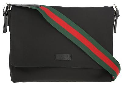 New Gucci Black Techno Leather Green/red/green Web Large Messenger Shoulder Bag