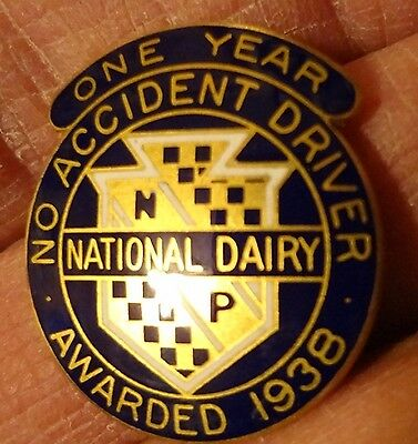 Vintage 1938 National Dairy Drivers Safe Driving Award Pin Enamel