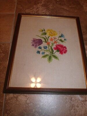 Vintage Beautiful FLOWERS Crewel in Vintage Frame Ashmore Paint Co Texas 1950s