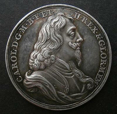 Silver medallion - Charles I memorial 1649 by Roettier Eimer162b - about EF 34mm