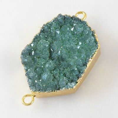 Green Agate Titanium Druzy Connector Gold Plated T026614
