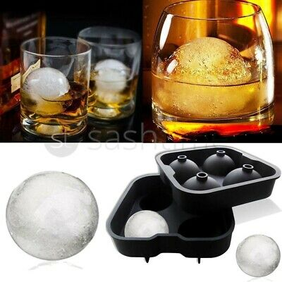 Whiskey Ice Ball Maker Mould Black Flexible Silicone Ice Tray Cube Round Spheres