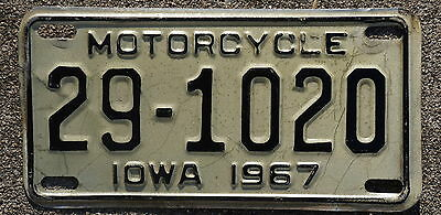 1967 Iowa Motorcycle License Plate
