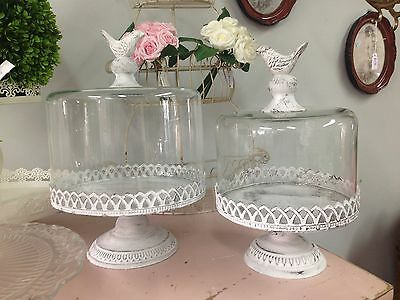 LARGE CAKE STAND & GLASS DOME bird handle metal SHABBY FRENCH cupcake plate