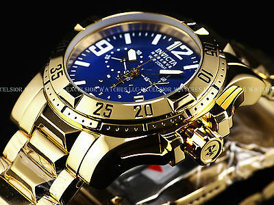 NWD $1,595 Invicta Reserve Swiss Made Chrono 18K Gold High Polish Blue MOP Watch