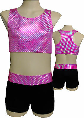 Size 6,7,8,10 Girls - Lined Crop Top/Shorts Set- Leotard Gymnastic Dance