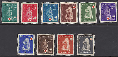 CROATIA : 1943 Red Cross Fund set SG 91-100 mint