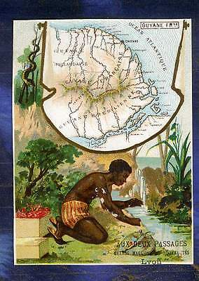 chromo deux passages carte Map Guyane Française French Guyana Homme Trade card