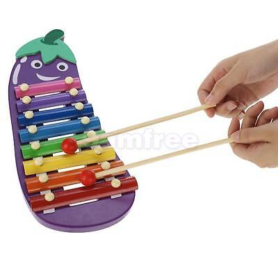 8-Note Children's Xylophone Eggplant Shapes Kids Percussion Instrument Toy