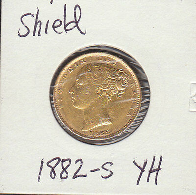 1882    VICTORIA YOUNG HEAD.SHIELD REVERSE  sovereign  SYDNEY MINT
