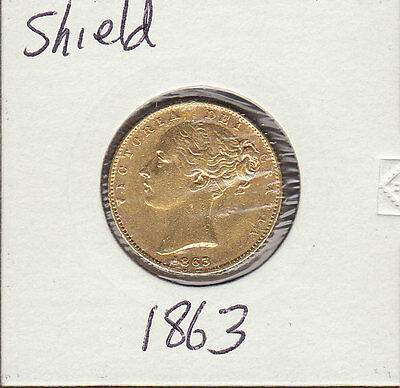 1863  VICTORIA YOUNG HEAD.SHIELD REVERSE  sovereign