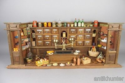 nice german antique doll house grocery store , vintage shop 1890´s + miniatures
