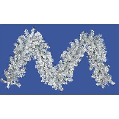 9 ft. x 10 in. Pre-Lit Silver Tinsel Artificial Christmas Garland Clear Lights