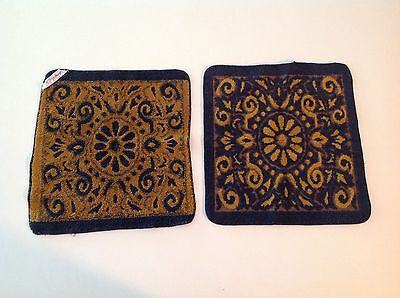 ST. MARY'S VINTAGE 60'S MOD Blue Copper Face Wash Cloths Reversible Sculpt Towel