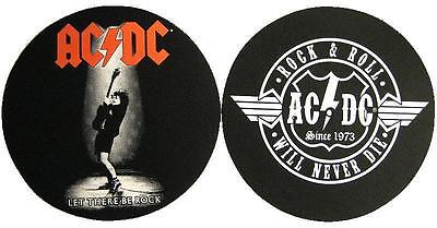 AC/DC DJ SLIPMAT FILZMATTE LET THERE BE ROCK ROCK & ROLL WILL NEVER DIE 2er SET