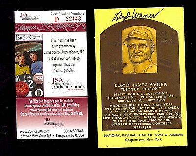 1964 HOF Plaque Lloyd Waner JSA Certified Authentic Autograph Pittsburgh Pirates