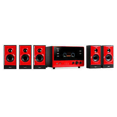 Altavoz 5.1 Cinema Altavoces Home Radio AUX USB SD RCA Subwoofer Surround Rojo