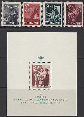 CROATIA : 1945 Postal Employees Fund  set + Min Sheet SG145-8 mint +MS148a MNH