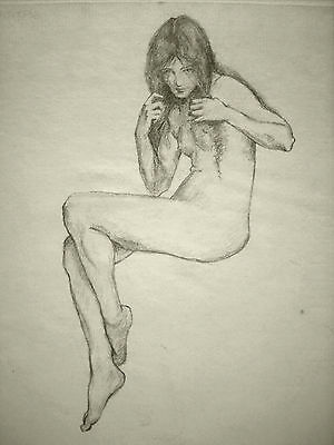Little pencil drawing of a nude girl, by unknown artist, c 1980 (?)
